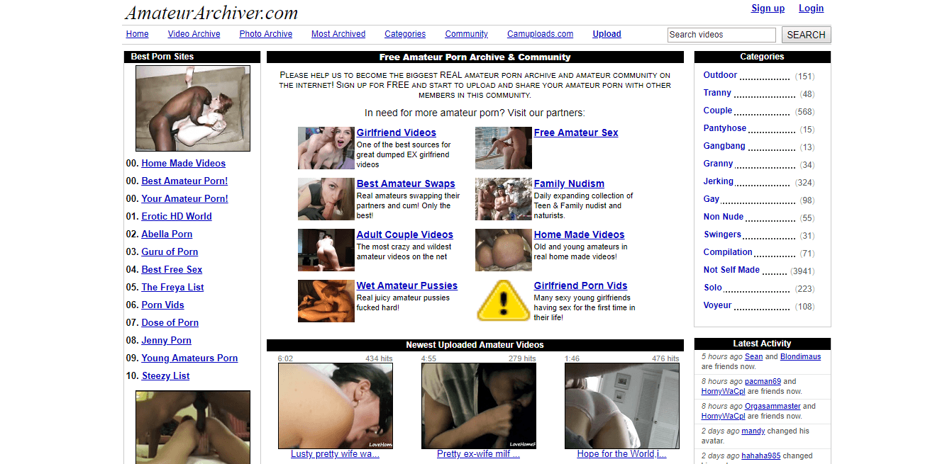 Screenshot amateurarchiver.com