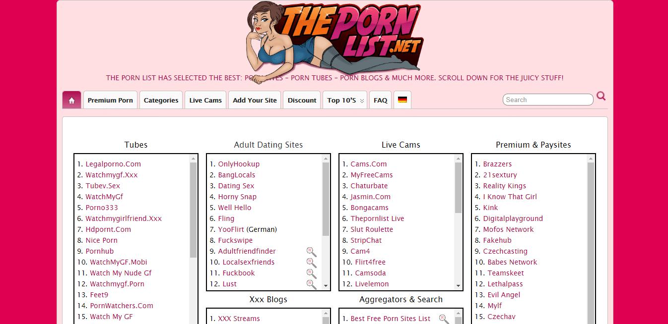 Screenshot thepornlist.net